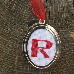 Letter R Christmas Ornament Red Cross Stitch 2008